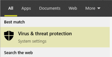 searching for virus and threat protection